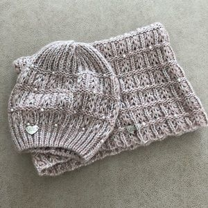 Betsey Johnson Blush Scarf & Beanie Set